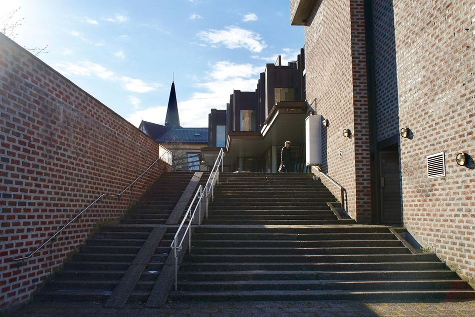 up 35mm Architecture Brick Brick Wall Building Exterior Built Structure City Day No People Norway Norway🇳🇴 Outdoors Sky Sony A7 Staircase Stairs Steps Steps Steps And Staircases