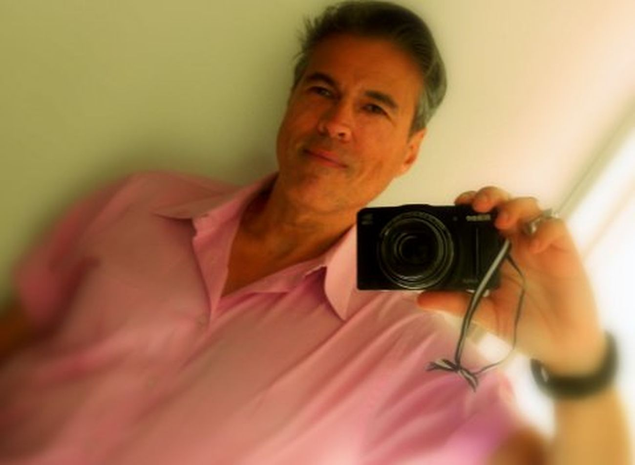 Self Portrait of me Michael J Armijo in Soft Focus at home in a Pink Shirt