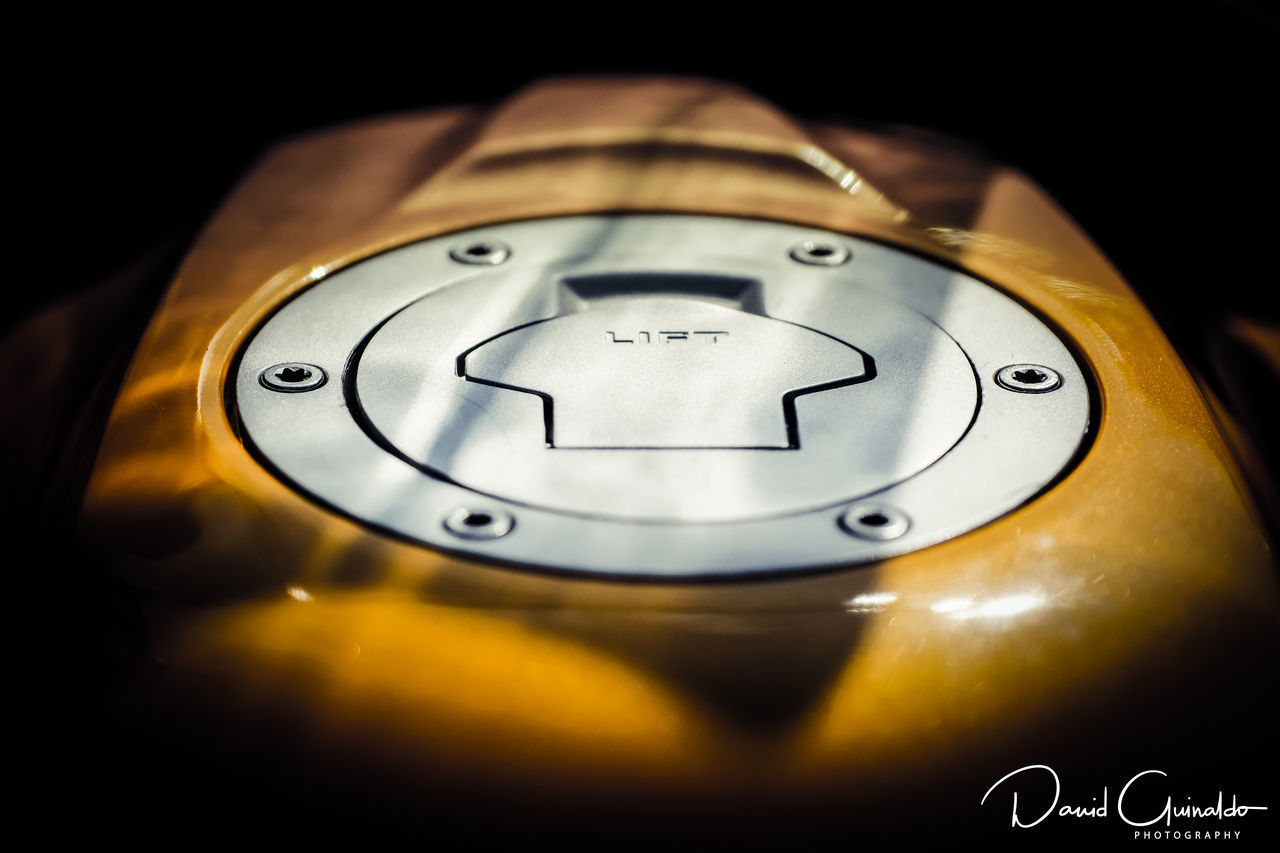Close-up Focus On Foreground Fuel Tank Motobike No People Yellow