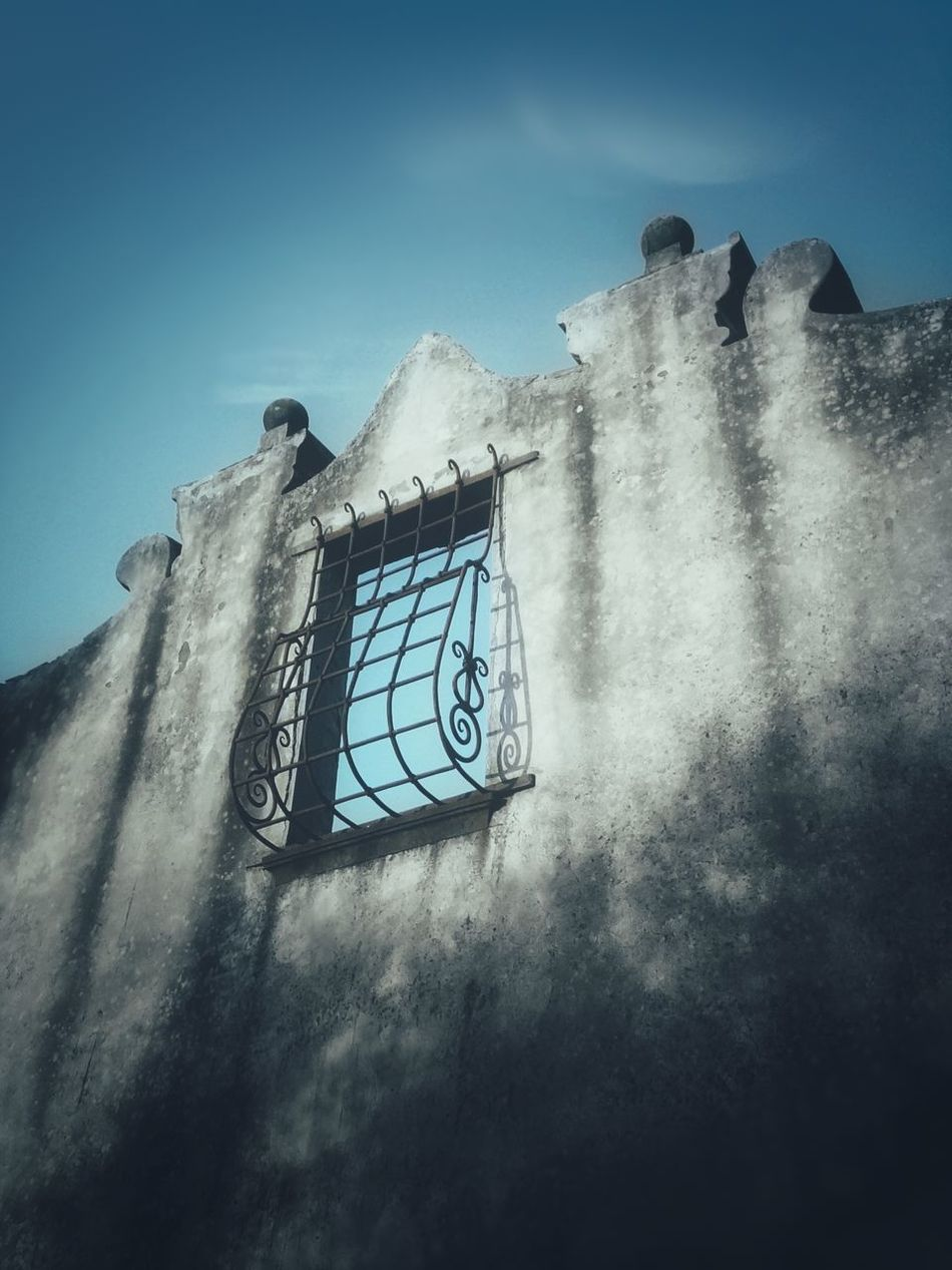 The Secret Spaces Architecture Fine Art Blue Sky No Boundaries No Walls Freedom Building Exterior Beauty Of Decay Window On The Sky Wrought Iron Fence My Secret Place Façade Abandoned Empty Urban Exploration Urban Photography Low Angle View
