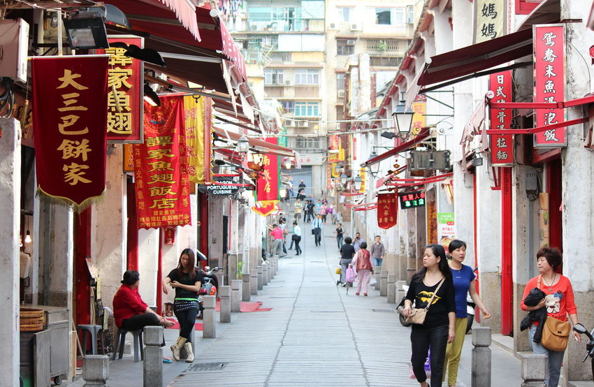 Advertisement Architecture ASIA Building Exterior Built Structure China City City Life City Street Commercial Sign Day Diminishing Perspective Large Group Of People Lifestyles Macau Men Narrow Outdoors Person Red Signs Street The Way Forward Walking