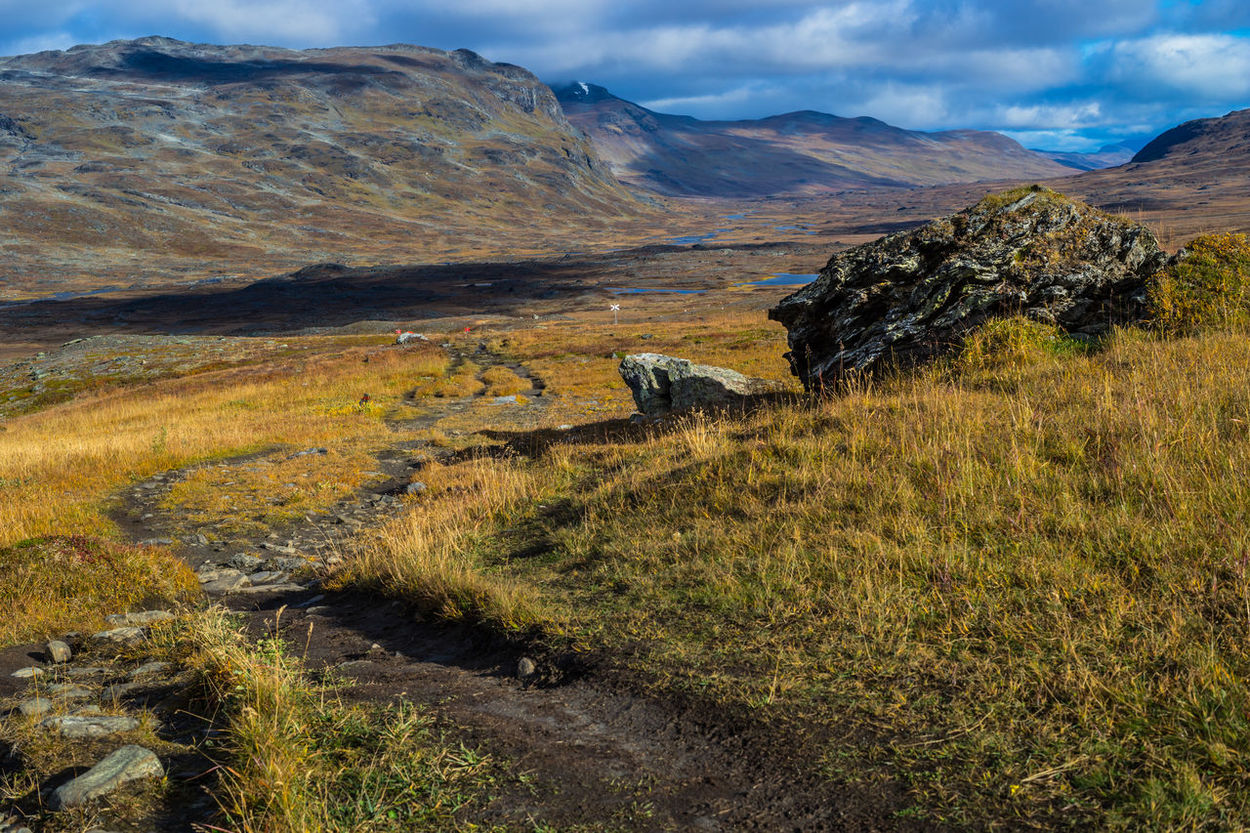 September hiking along The King's Trail in northern Sweden Alesjaure  Autumn Clouds And Sky Color Day Fall Grass Hiking Kungsleden Mountain Mountain Range Mountains Nature No People North Northern Europe Outdoors Path Remote Rock Formation Scandinavia Stone Sweden The Kings Trail Trail
