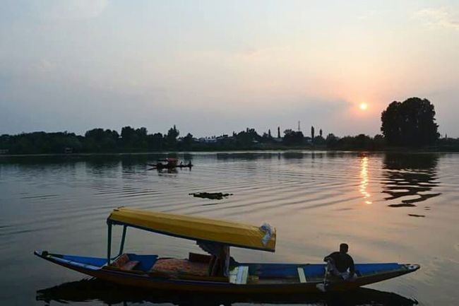 Srinagar Kashmir Sunset Transportation Nautical Vessel Water Boat Lake Mode Of Transport Scenics Tranquility Tranquil Scene Reflection Calm Beauty In Nature Nature Sun Orange Color Cloud Sky Waterfront Outdoors Evening Sky