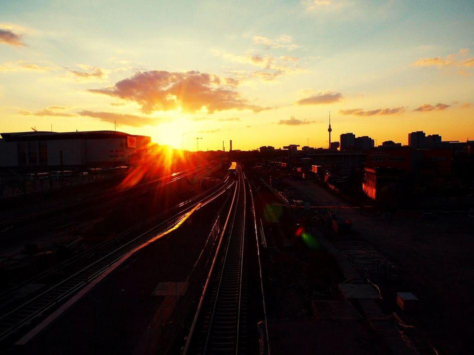 Sunset Berlin Warschauerbrücke Railroad Track
