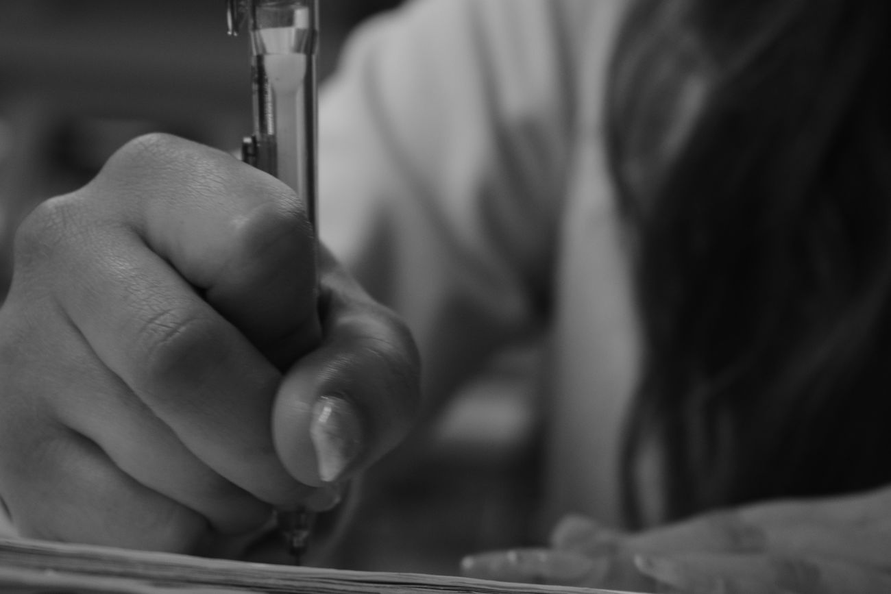 Blackandwhite Close-up Girl Hands Human Hand Indoors  One Person Pencil Perspective Real People School Flow Skill