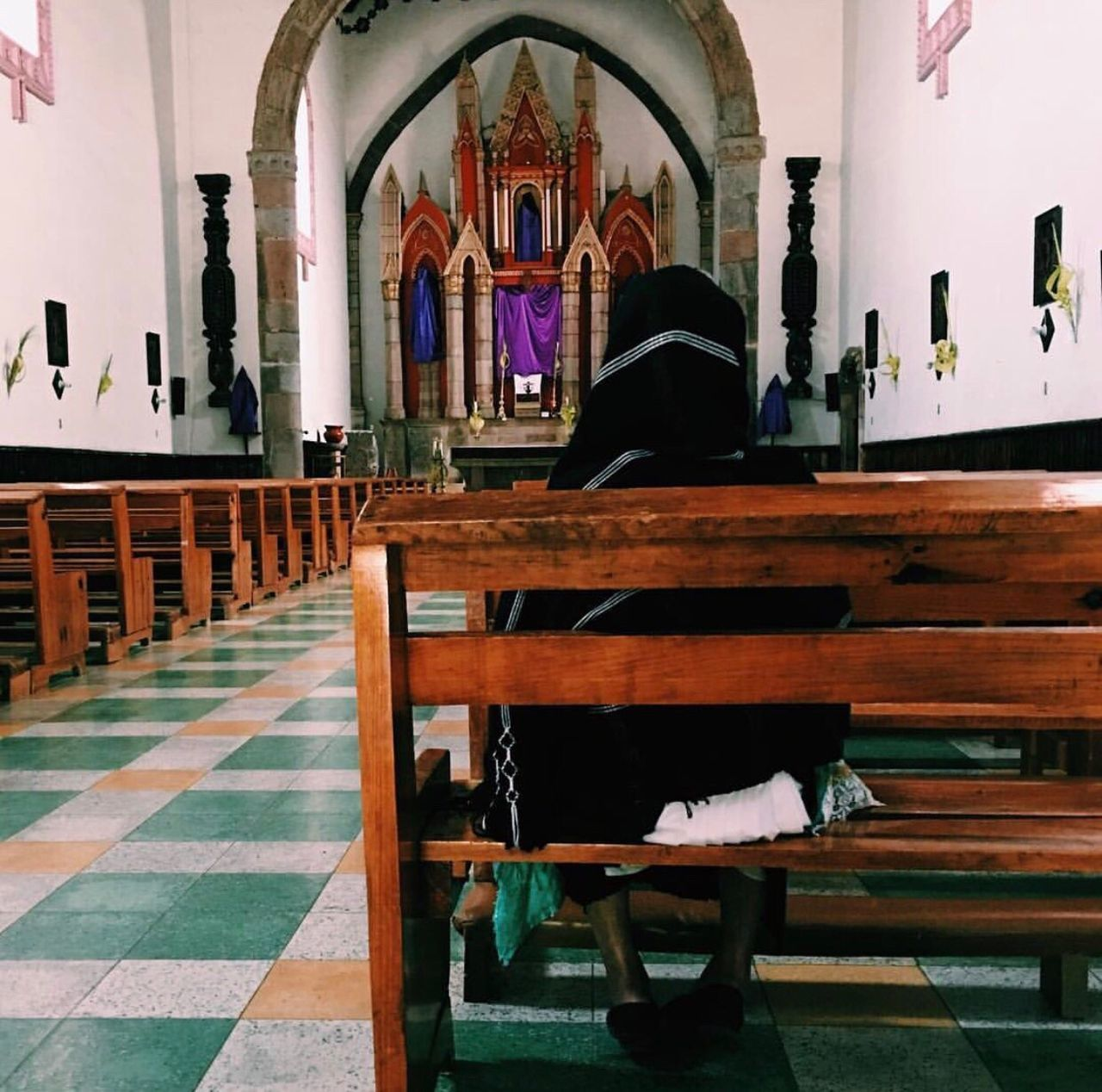religion, place of worship, spirituality, pew, indoors, real people, men, full length, day