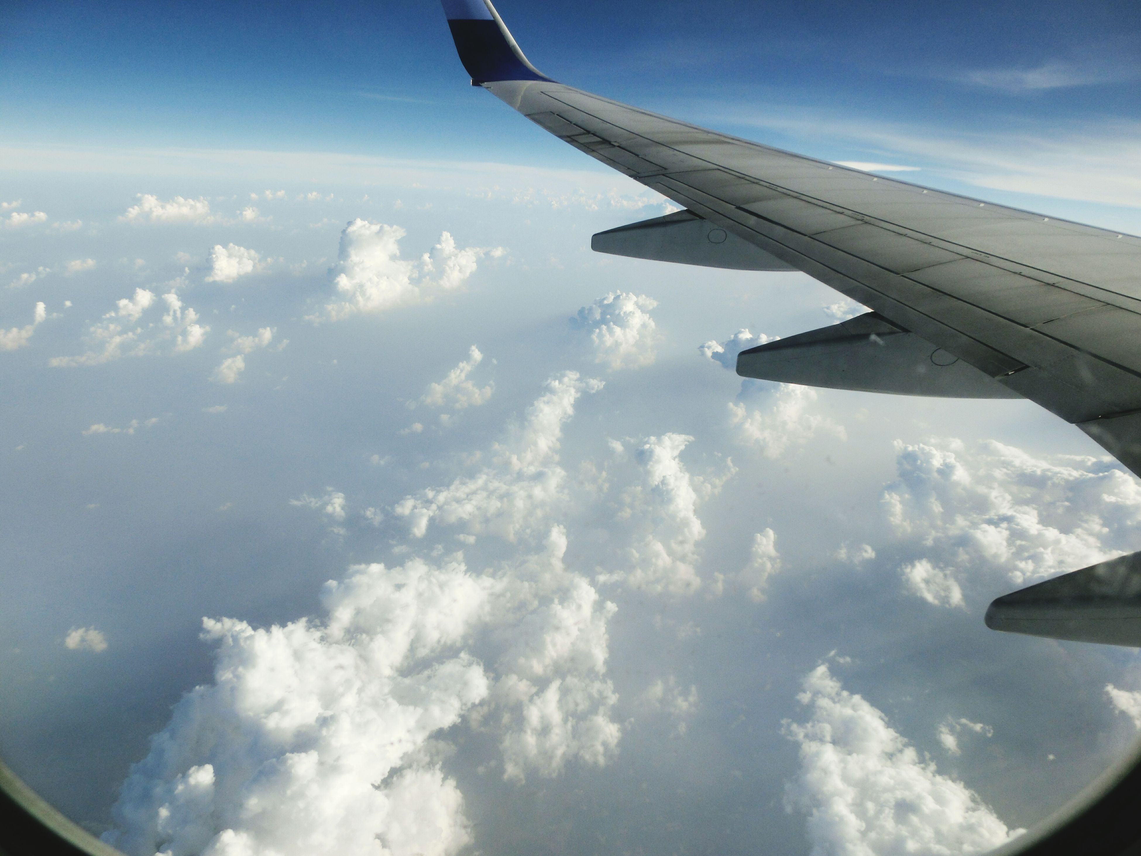 airplane, aircraft wing, air vehicle, flying, transportation, mode of transport, part of, sky, cropped, aerial view, mid-air, travel, journey, cloud - sky, public transportation, on the move, scenics, airplane wing, beauty in nature, aeroplane