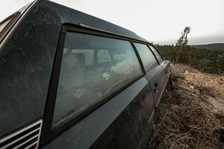 Abandoned Car Citroen Cx Break Damaged Day Field Glass - Material Low Angle View Mode Of Transport No People Obsolete Old Outdoors Patina Reflection Sky Transportation Window Youngtimer MeinAutomoment The Drive