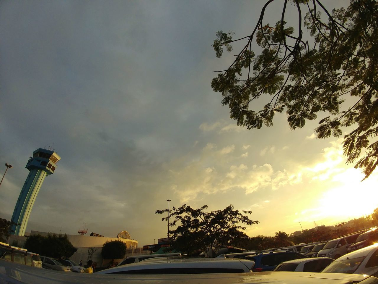 car, sky, cloud - sky, land vehicle, transportation, no people, low angle view, sunset, tree, outdoors, nature, day