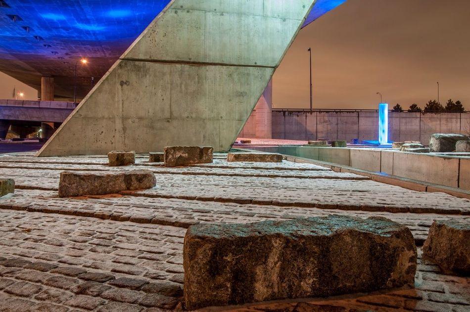 Under the Zakim bridge at night