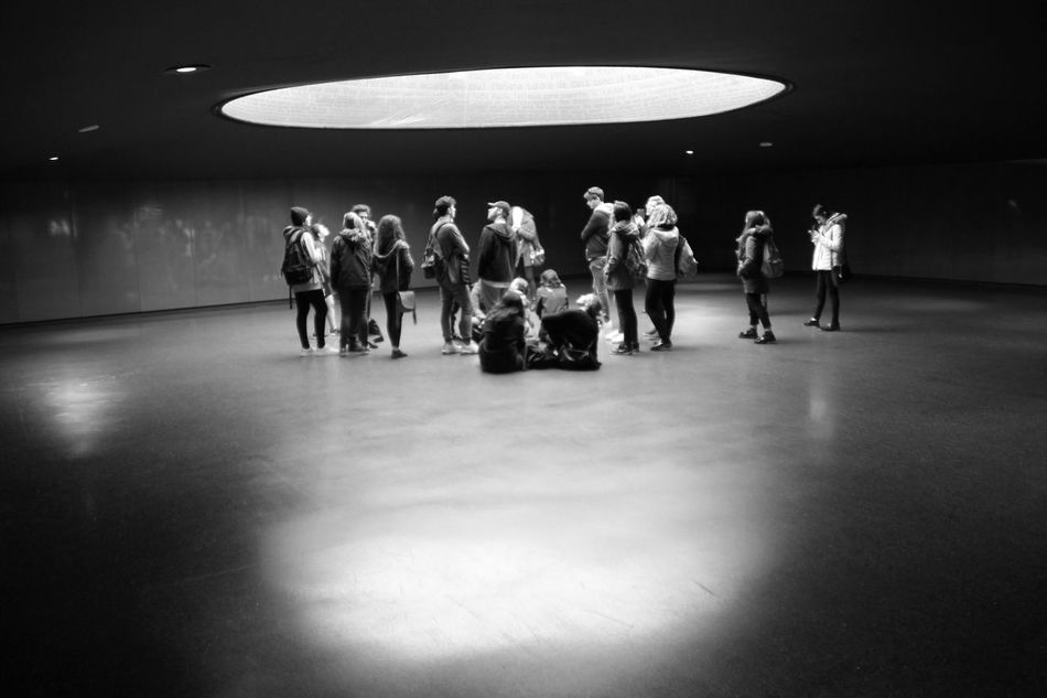 Real People Large Group Of People Illuminated Indoors  Men Young Women Full Length Standing Togetherness Young Adult Atocha Memorial Place Memorial Taking Photos Blackandwhite Architecture Hanging Out Indoors  Black And White Check This Out Enjoying Life Black & White Memory Train Station Streetphotography