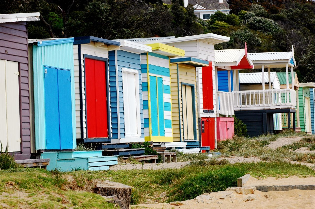 Beautifully Organized Multi Colored Architecture Building Exterior Outdoors Built Structure No People Day Boathouse Bathhouse Beachbox Bathingboxes Rainbow Colors Structure Buildings Mornington Peninsula Victoria Brighton Vacation Vacation Destination In A Row Beach Hut Sand Beach