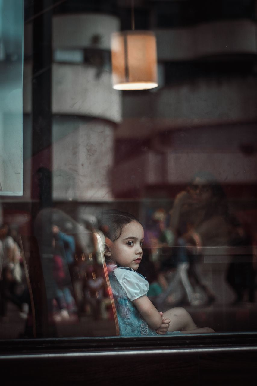 childhood, window, indoors, one person, real people, girls, looking through window, reflection, boys, cute, day, close-up, people