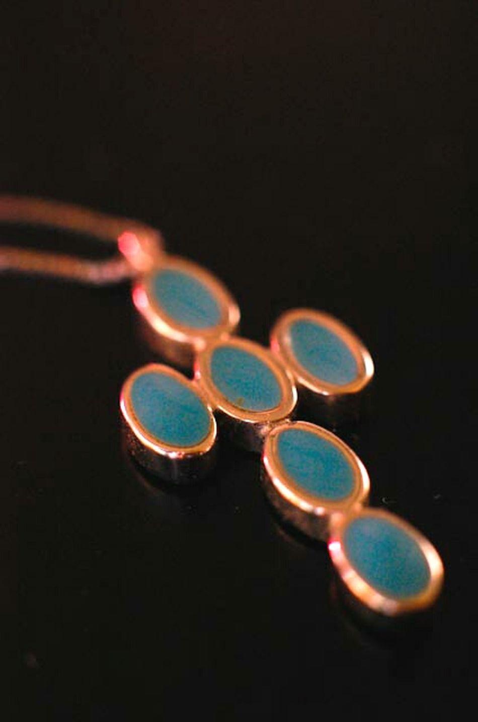 Macro Photography Jewelry Italianturquoise Turqoise Crosspendant Cross Whitegold Necklace Nikond40