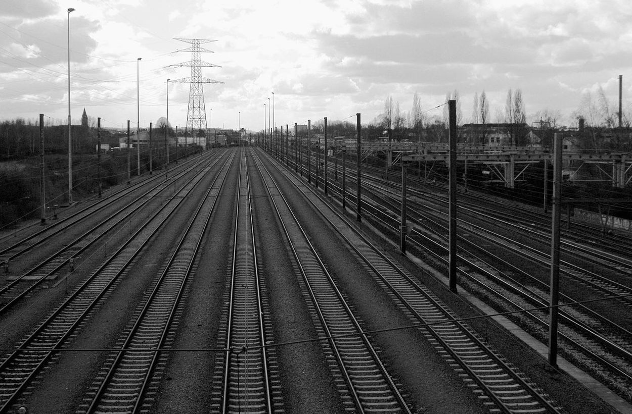 Brussels Day Landscape No People Outdoors Railroad Track Sky Transportation Vanishing Lines