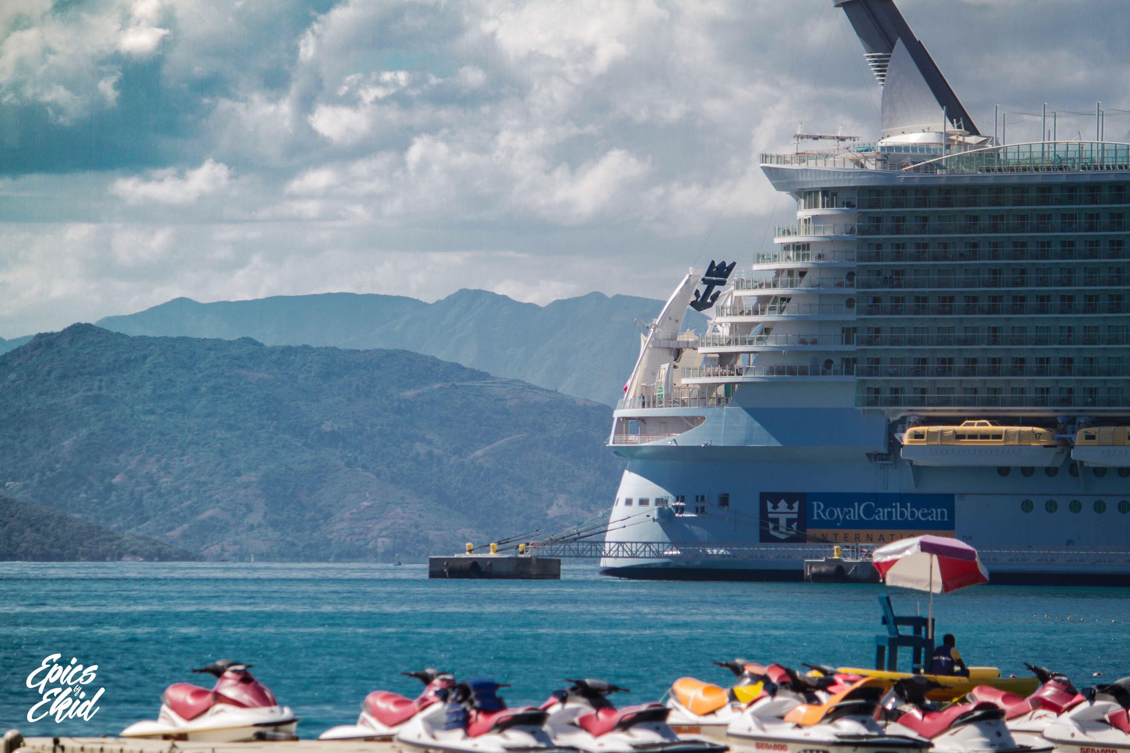 Oasis visits Haiti Oasisoftheseas RoyalCaribbean Haiti Cruise Cruiseship Travel Vacation Holiday Traveling Wander Bay Stern Clouds Bluewater Epicsbyekid Ekid Canon7d