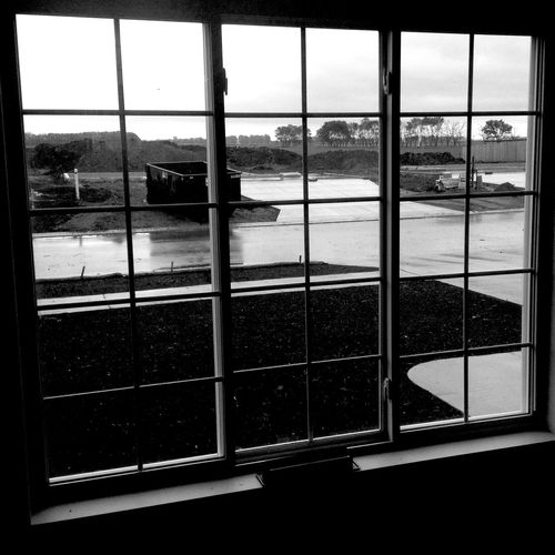 QVHoughPhoto Minnesota Moorhead Construction Window Dumpster Blackandwhite Cityscapes IPhoneography IPhone4s