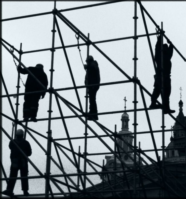Construction Site Moscow Sky Geometry Workers Church