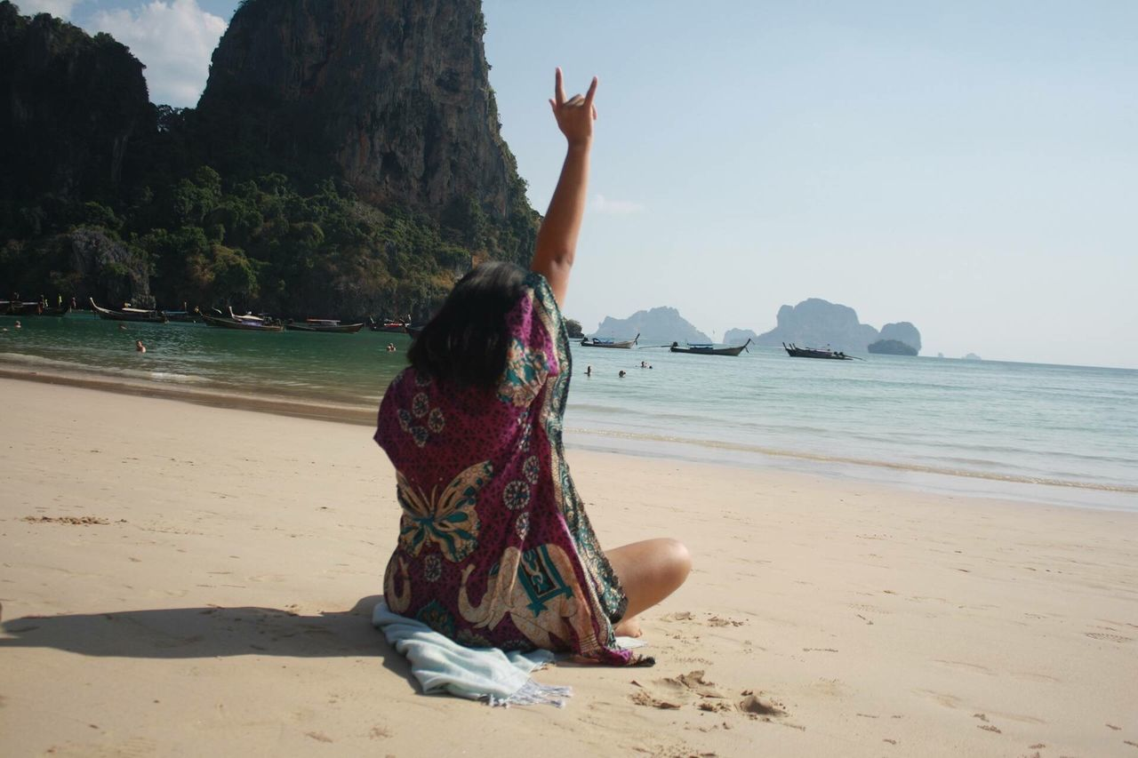 Love you Thailand at Krabi Thailand Beach Sand Sea One Person Shore Real People Water Nature Lifestyles Full Length Day Rock - Object Leisure Activity Outdoors Women Beauty In Nature Vacations Scenics Sky Horizon Over Water Be. Ready.