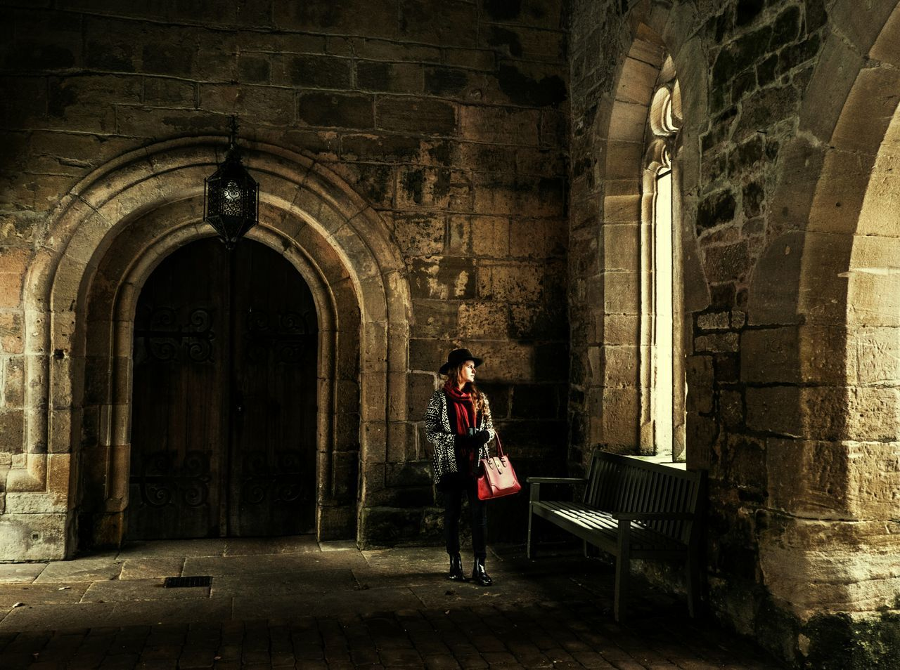 Waiting..... One Person Real People Indoors  Architecture Young Adult One Woman Only Historical Building History Architecture Young Lady Red All Alone Waiting For Someone Fujifilm Fuji X-T1 FUJIFILM X-T1 EyeEmNewHere