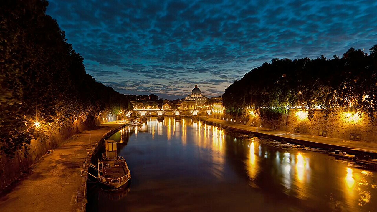 Reflection Sunset Water Rome, Italy Rome Italy🇮🇹 Travel Travel Destinations Tevere River Rome Bridge Ship Rome By Night Colour Photography Architecture_collection Tevere Cityscape History Tourism Architecture Multi Colored Gold Colored Sky