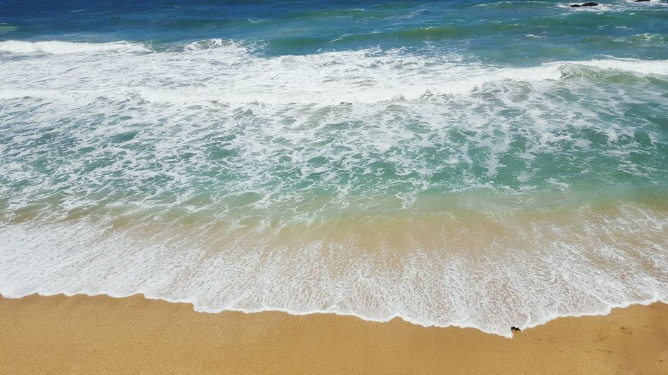 Looking Down Beach Waves Sand White Wave Sand & Sea High View