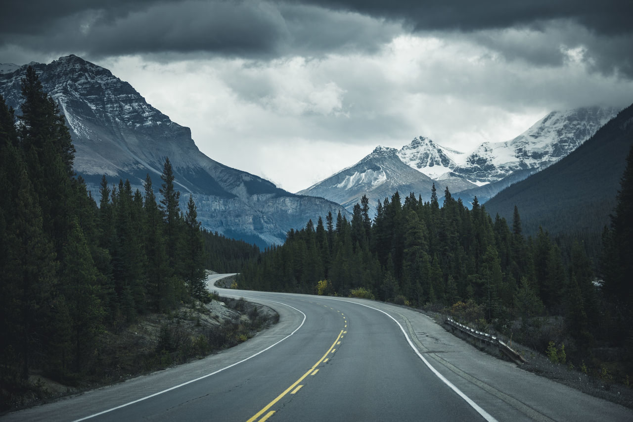 Driving down the Rockies Alberta Beauty In Nature Canada Day Landscape Mountain Mountain Range Nature No People Outdoors Road Scenics Sky Snow The Way Forward Tranquil Scene Tranquility Transportation Tree