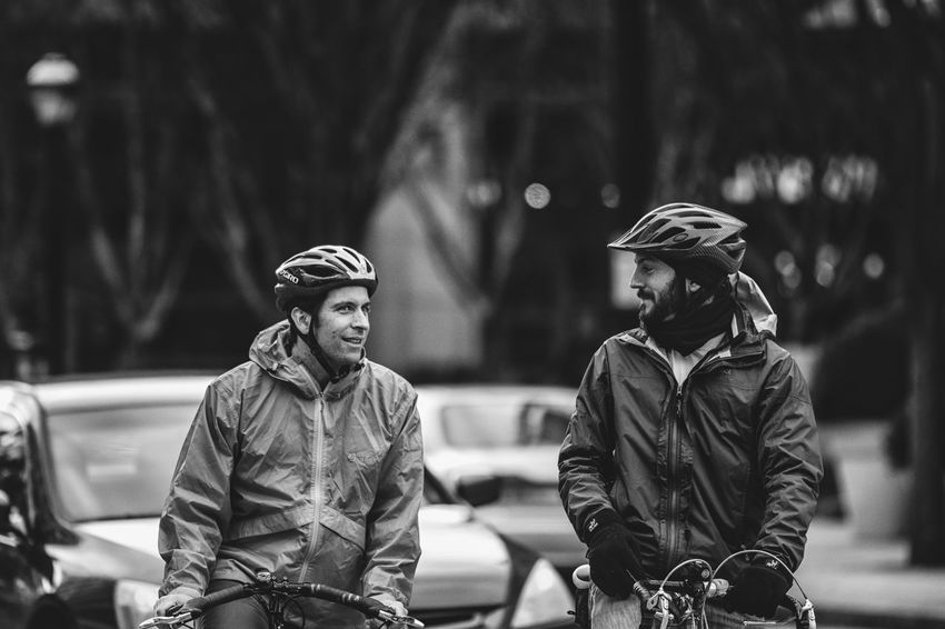Ride With A Friend Blackandwhite The Street Photographer - 2016 EyeEm Awards Celebrate Your Ride Day Depth Of Field Focus On Foreground Friendship Front View Full Length Fun Leisure Activity Lifestyles Men Midtown Atlanta Nikon D750 Photographyisthemuse Real People Selective Focus Side View Sitting Standing Streetphotography Tamron 70-200mm F/2.8 Togetherness Young Men