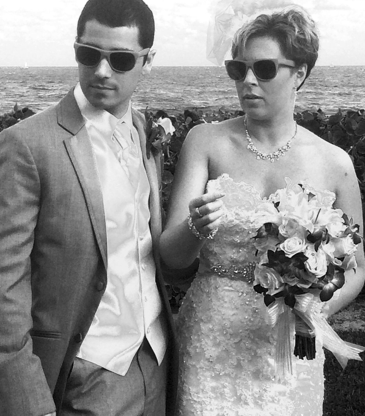 Wedding Shades Bride Groom Marriage  Cool Hip Young Lifestyles Sunglasses Togetherness Beautiful Black And White Tuxedo Wedding Day Wedding Dress Wedding Bouquet Vest Bride And Groom