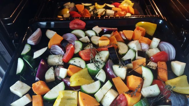 Ready to Roast. Chopped Bake Oven Cooking At Home Cooking Roast Red Onion Thyme Rosemary Garlic Aubergine Peppers Squash Tomatoes Courgettes Vegetables Samsung Galaxy S6 Mobile Photography
