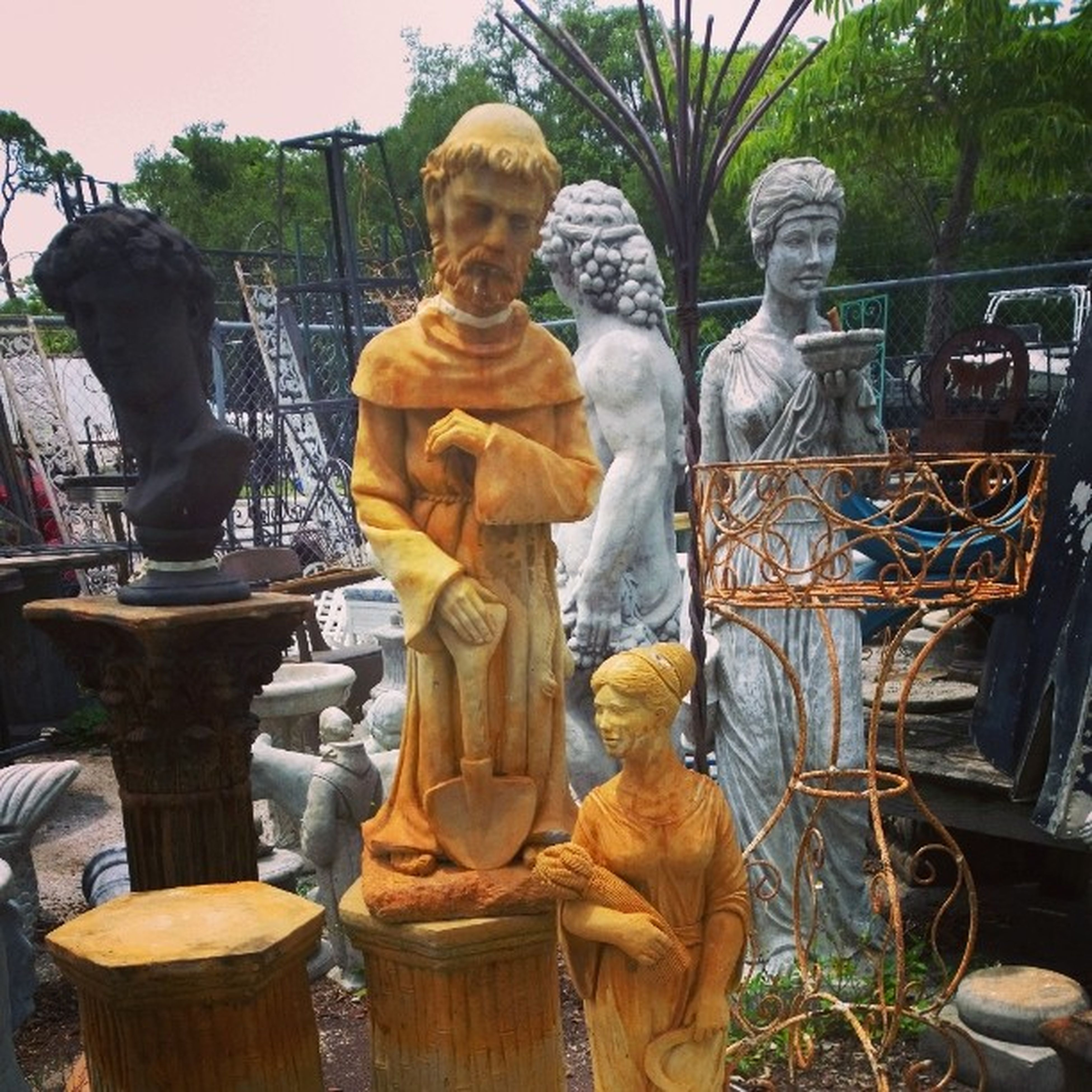 art and craft, art, human representation, sculpture, statue, creativity, religion, for sale, buddha, spirituality, temple - building, day, retail, outdoors, tree, no people, large group of objects