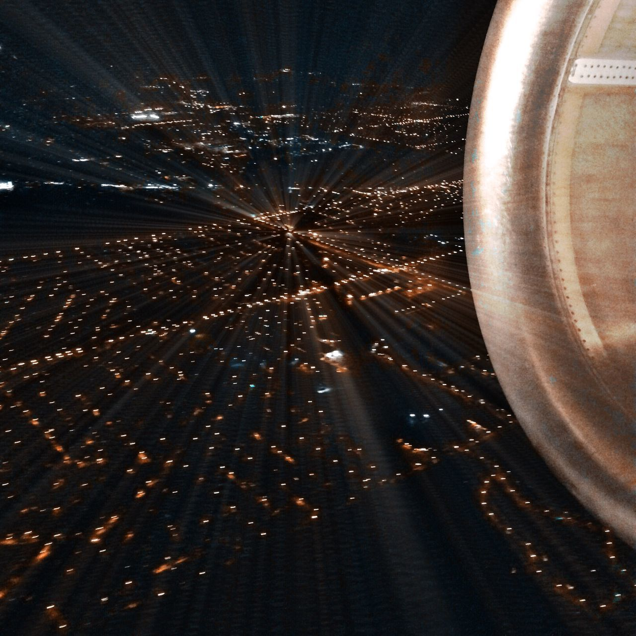 illuminated, night, no people, air vehicle, indoors, airplane, architecture, sky, city, cityscape, close-up