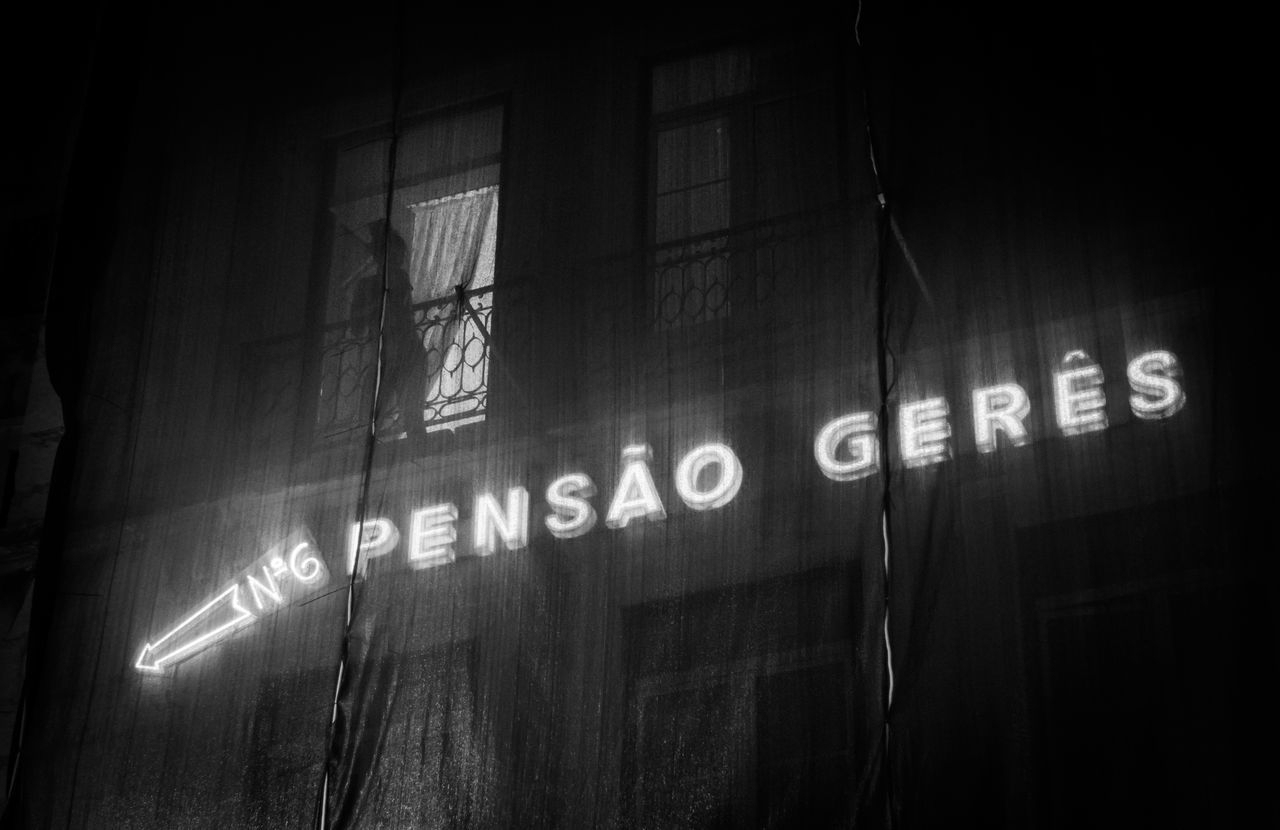 Black And White Building Light And Shadow Lisboa Lisbon Night Pensao Portugal Street Window Woman