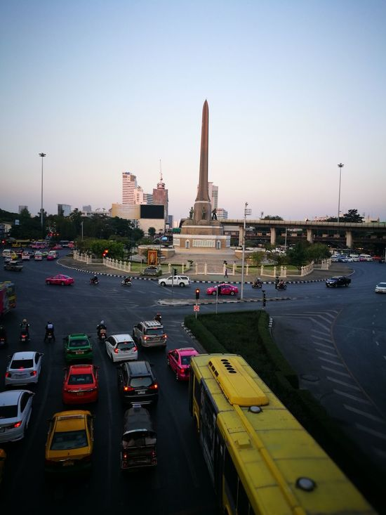 Monuments Victory Monument Capital Cities  Bangkok Thailand. Traveling Morning Crowded Traffic