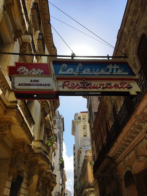 Cuba Restaurant Architecture Text Built Structure Low Angle View Building Exterior Communication Day Outdoors No People Road Sign City Sky