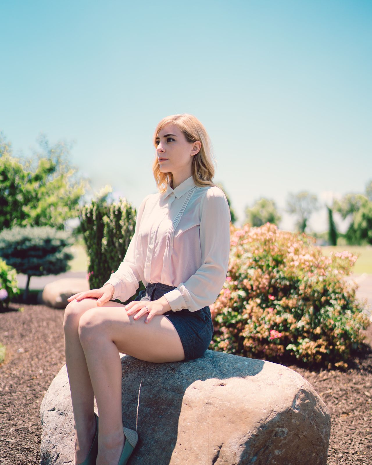 Sitting Only Women One Woman Only One Person Casual Clothing Adults Only Young Adult Blond Hair One Young Woman Only Adult People Beautiful Woman Outdoors Relaxation Day Young Women Sky Full Length Women Nature