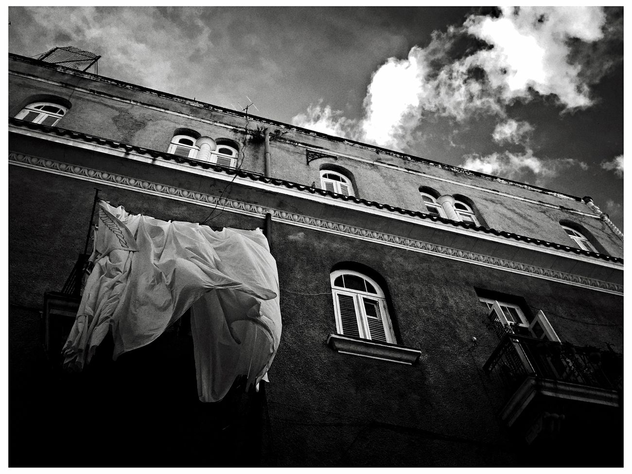 Sky Building Exterior Low Angle View Architecture Built Structure Outdoors No People Cloud - Sky Architecture City Blackandwhite Cuba Monochrome Havana La Habana EyeEm Best Shots - Black + White Streetphotography Traveling EyeEm Best Edits