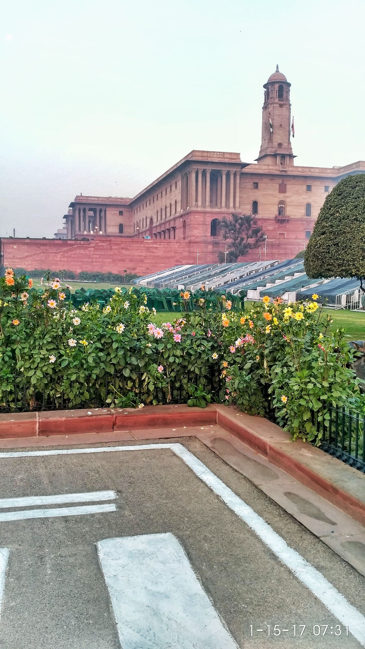 Building Exterior Architecture Built Structure Outdoors No People Flower Nature Rashtrapati Bhavan, Central Secretariat. Rashtrapatibhawan Nature Outdoor Photography Delhidiaries Monument Delhiphotographers Delhite Morning Morning View Architecture Indian Beauty In Nature Prettybeautiful Flowerphotography Sky Tourism Indianphotography