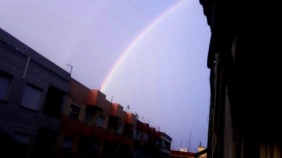 Foto realizada por mi madre. Rainbow Sky City Low Angle View Beauty In Nature Outdoors No People Desde Mi Ventana...