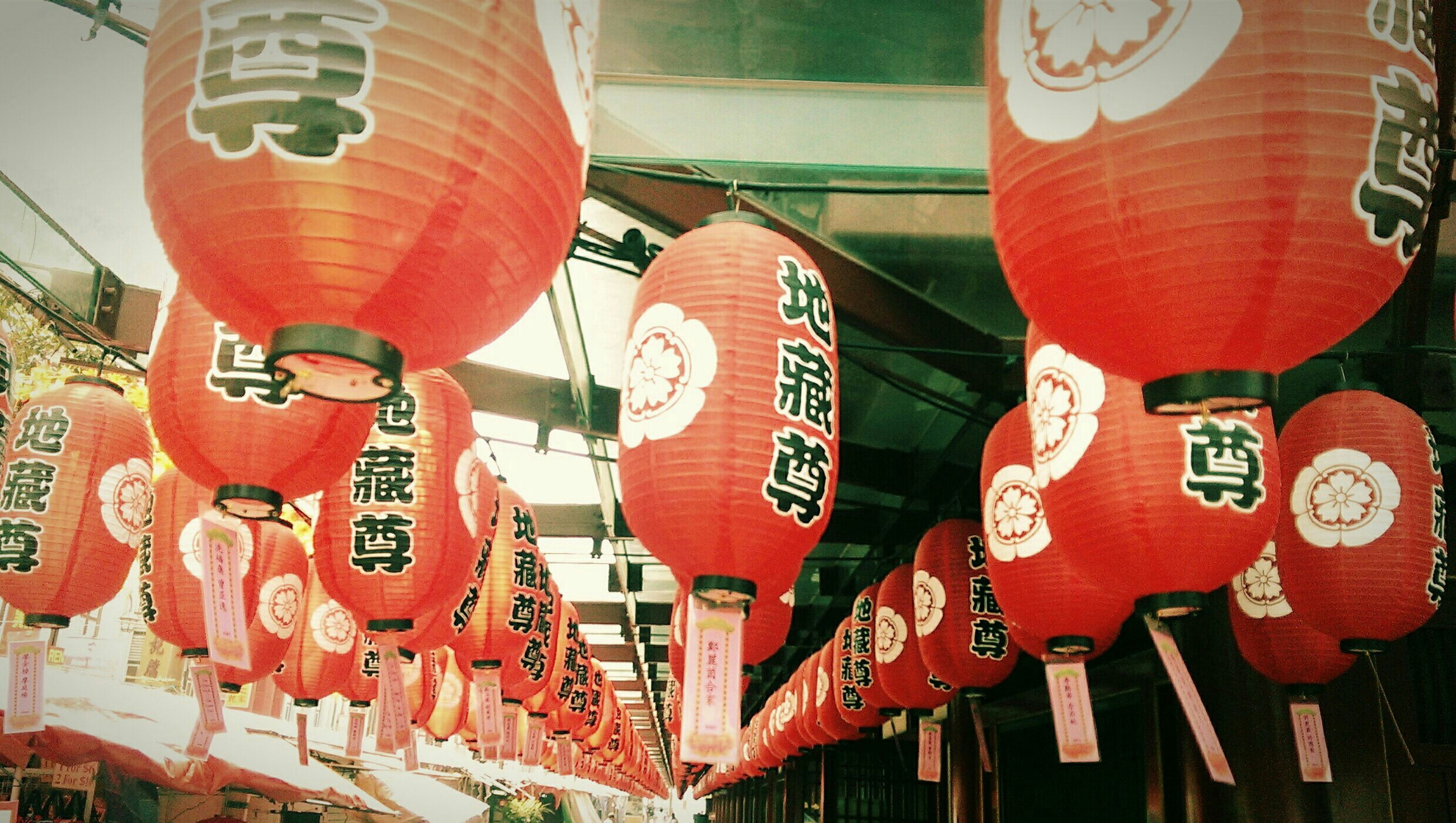 red, text, hanging, built structure, architecture, low angle view, decoration, lantern, tradition, multi colored, art and craft, building exterior, creativity, in a row, non-western script, no people, art, communication, variation, culture