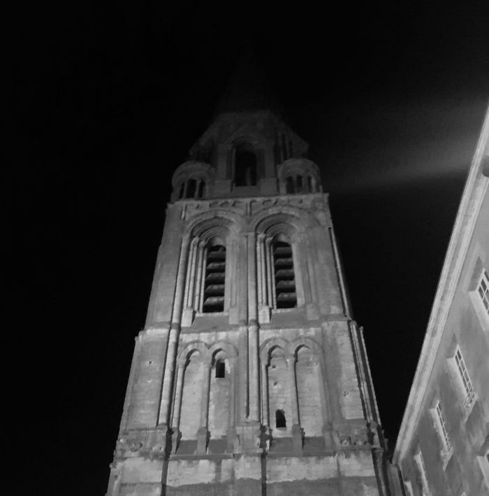 """""""The Tower"""" Religion Spirituality Place Of Worship Architecture Low Angle View Built Structure Building Exterior Night No People Statue Outdoors Illuminated Sky The Week On EyeEm Blackandwhite Black And White Black & White"""