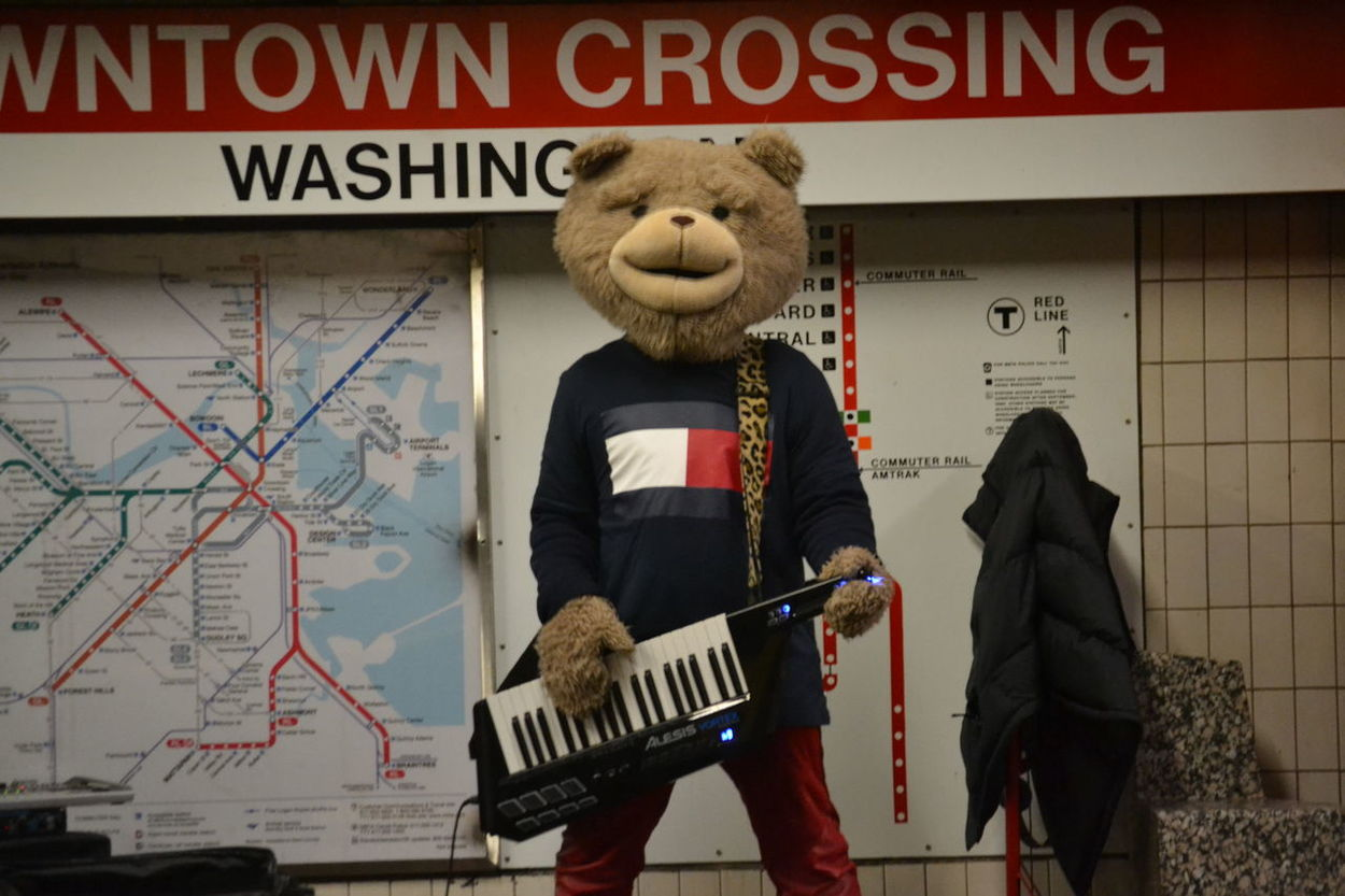 Adult Architecture Boston Downtown Funny Piano Real People Street Preformer Subway Teddy Bear