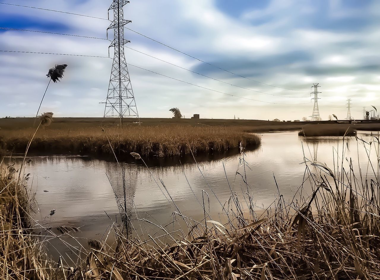Lyndhurst New Jersey Winter 2015. Lgarciaphoto IPhone 7 Plus IPhone IPhoneography Shot On IPhone Iphoneonly Meadowlands New Jersey New Jersey Photography Meadowlands Environmental Research Center Nature Nature_collection Electricity  Power Supply Power Line  Fuel And Power Generation Cloud - Sky Sky Electricity Pylon Cable Reflection Technology Landscape Grass Water No People Outdoors Connection Scenics Nature Day