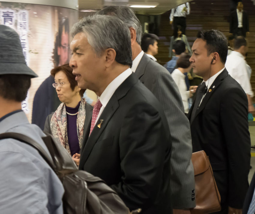 Deputy Prime Minister of Malaysia. Mr. Zahid Hamidi and his entourage walking at a train station in Tokyo, Japan during an official visit. Bureaucracy Business Deputy Prime Minister Entourage Group Hamidi Japan Leader Malaysian Official Politician Public Figure Railway Station Suit Tokyo Walking Zahid