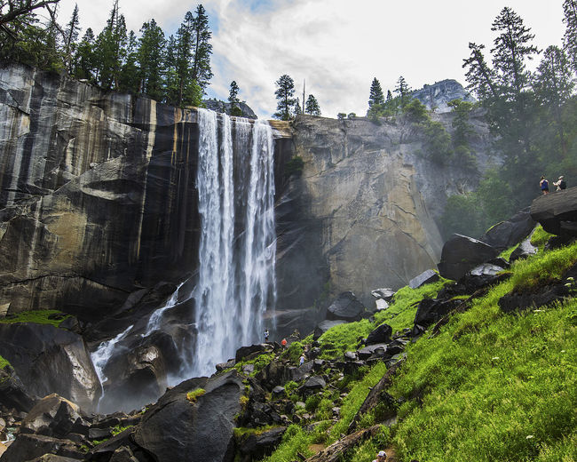 Beauty In Nature Cloud - Sky Day Flowing Flowing Water Growth Motion Nature Outdoors Plant Rock Scenics Tranquil Scene Tranquility Tree Vernal Falls Water Waterfall Yosemite National Park