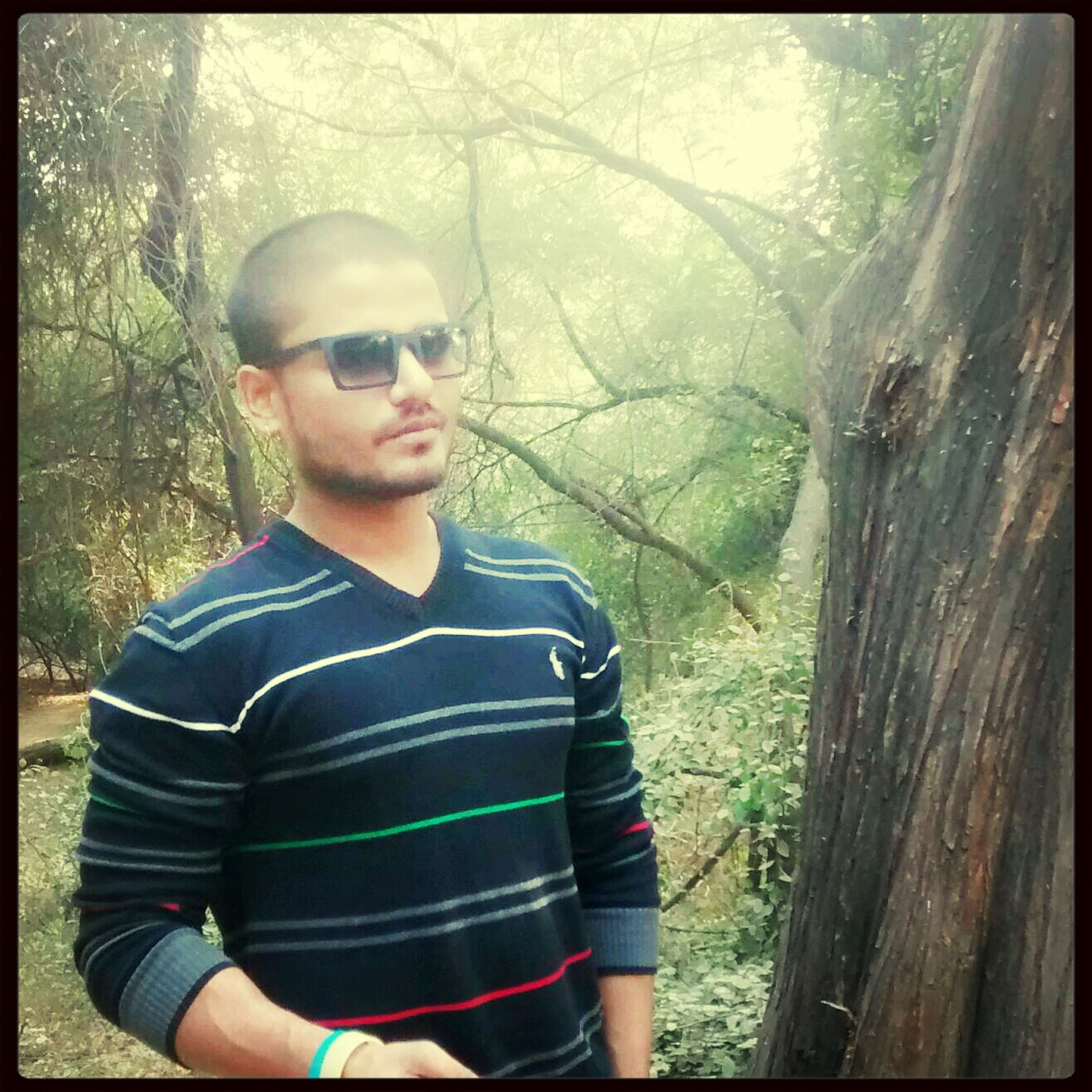 lifestyles, leisure activity, transfer print, casual clothing, person, young adult, looking at camera, portrait, auto post production filter, front view, tree, young men, three quarter length, sunglasses, waist up, standing, smiling, holding