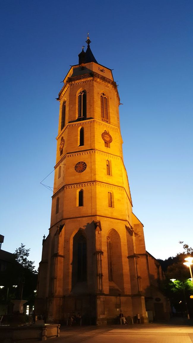 Church Tower Huge In The City Central High High Angle View At Night Tower Balingen
