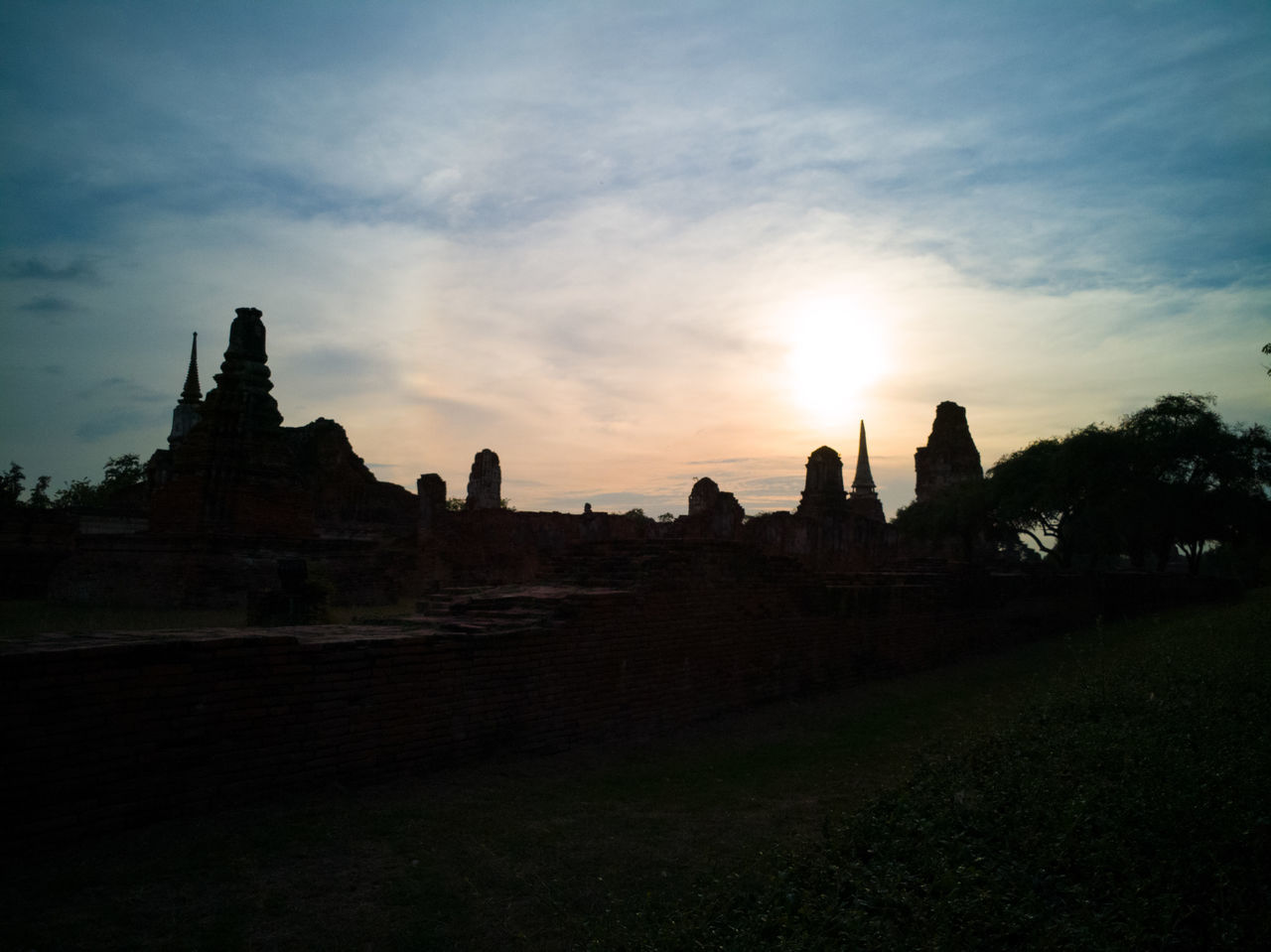 Temple in Ayutthaya, Thailand Ayutthaya Outdoors Sky Sunset Temple Thailand ThailandTemple Thailandtravel Travel Destinations