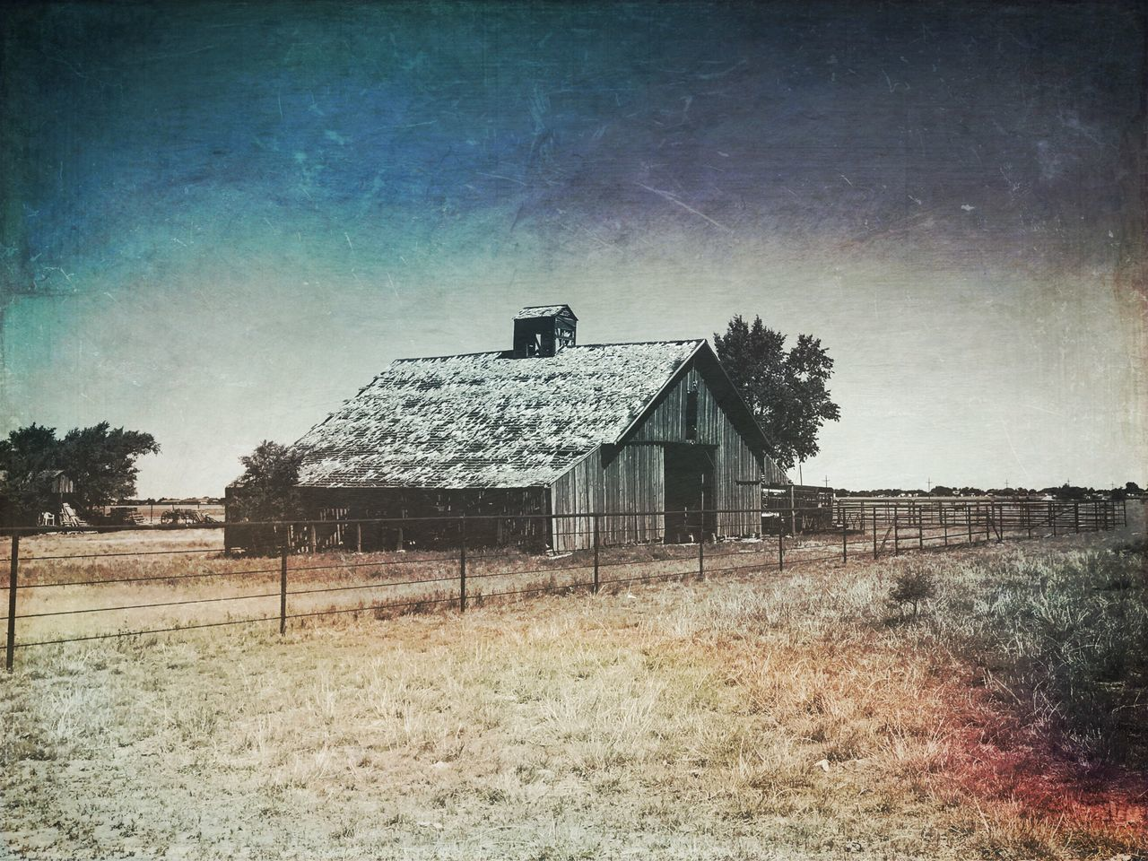 built structure, architecture, house, building exterior, abandoned, no people, field, sky, outdoors, day, tree, landscape, nature, grass