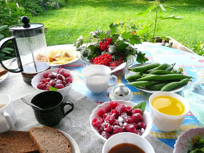 Breakfast table with all home-grown ingredients in Roja, Latvia! Beans Bowl Breakfast Food Fresh Coffee Freshness Holiday Dream Raspberries Ready-to-eat Refreshment Relaxing Breakfast Still Life Tablecloth Variation Kurzeme